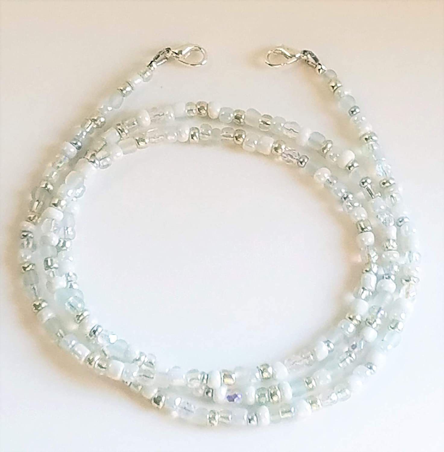 Mask Lanyard Beach Series 1-Mask Necklace Beaded Mask Holder-Grey Glass Beads with Silver Plate Nautilus Shell /& Beads