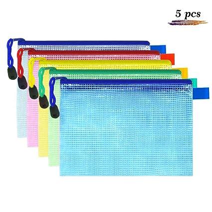 5pcs Waterproof Transparent Pvc Zipper Bag File Folder Document Filing Bag Stationery Bag Store School Office Supplies Office & School Supplies File Folder