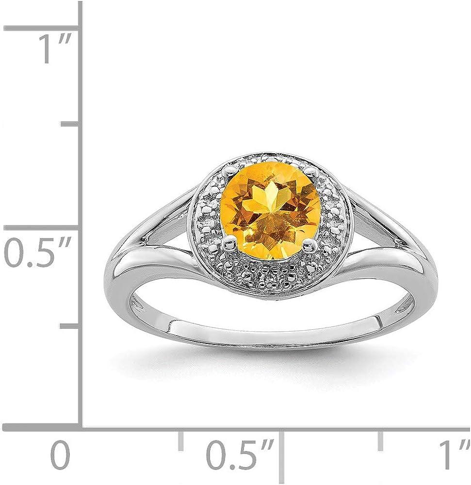 Mia Diamonds 925 Sterling Silver Diamond and Citrine Ring