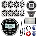Kicker KMC2 Marine Gauge Style AM/FM Stereo Receiver Bundle Combo With 8x 6.5' 300W White Coaxial Speakers + 10' 300W LED Subwoofer + 5 Channel Amplifier W/ Wiring Kit + Enrock Antenna + 50Ft 14g Wire