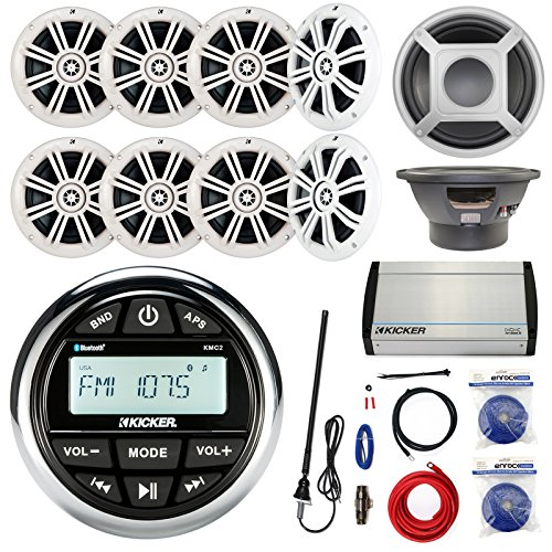 Kicker KMC2 Marine Gauge Style AM/FM Stereo Receiver Bundle Combo With 8x 6.5