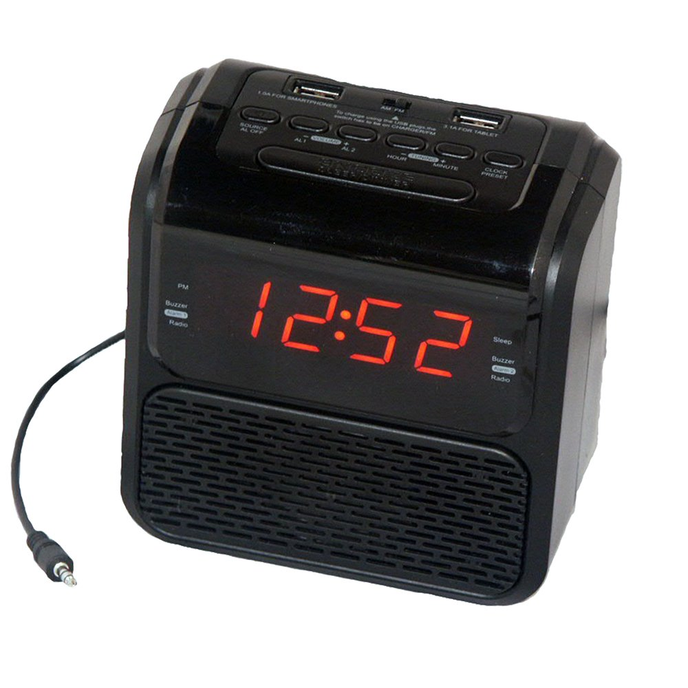 Sonnet R-2218 0.9'' LED Single Day Alarm Clock Radio with 2 USB Ports and Aux in Cord, Black