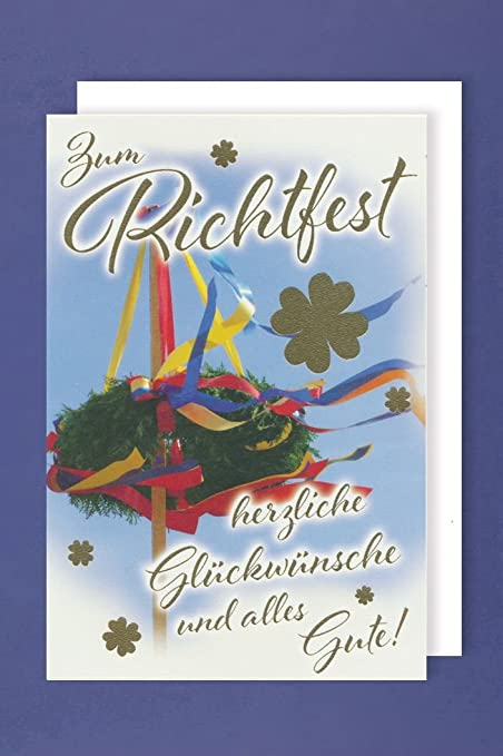 Dach Karte zum Richtfest Basic Classic 11,6 x 16,6 cm