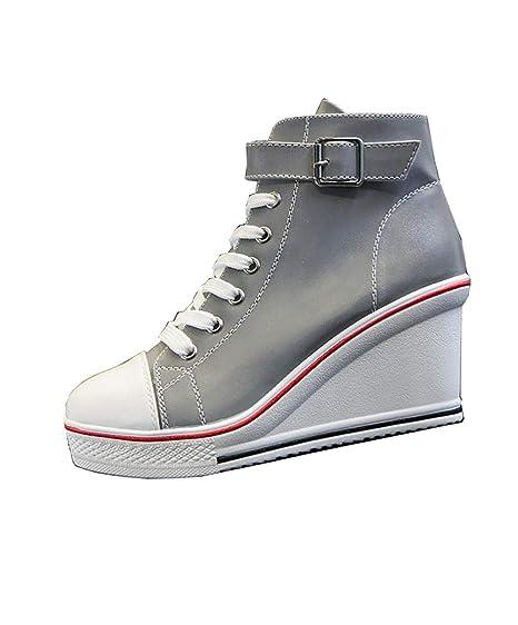 NY Cuñas para Mujeres Zapatos Brillantes Zapatos de Lona de Color ...