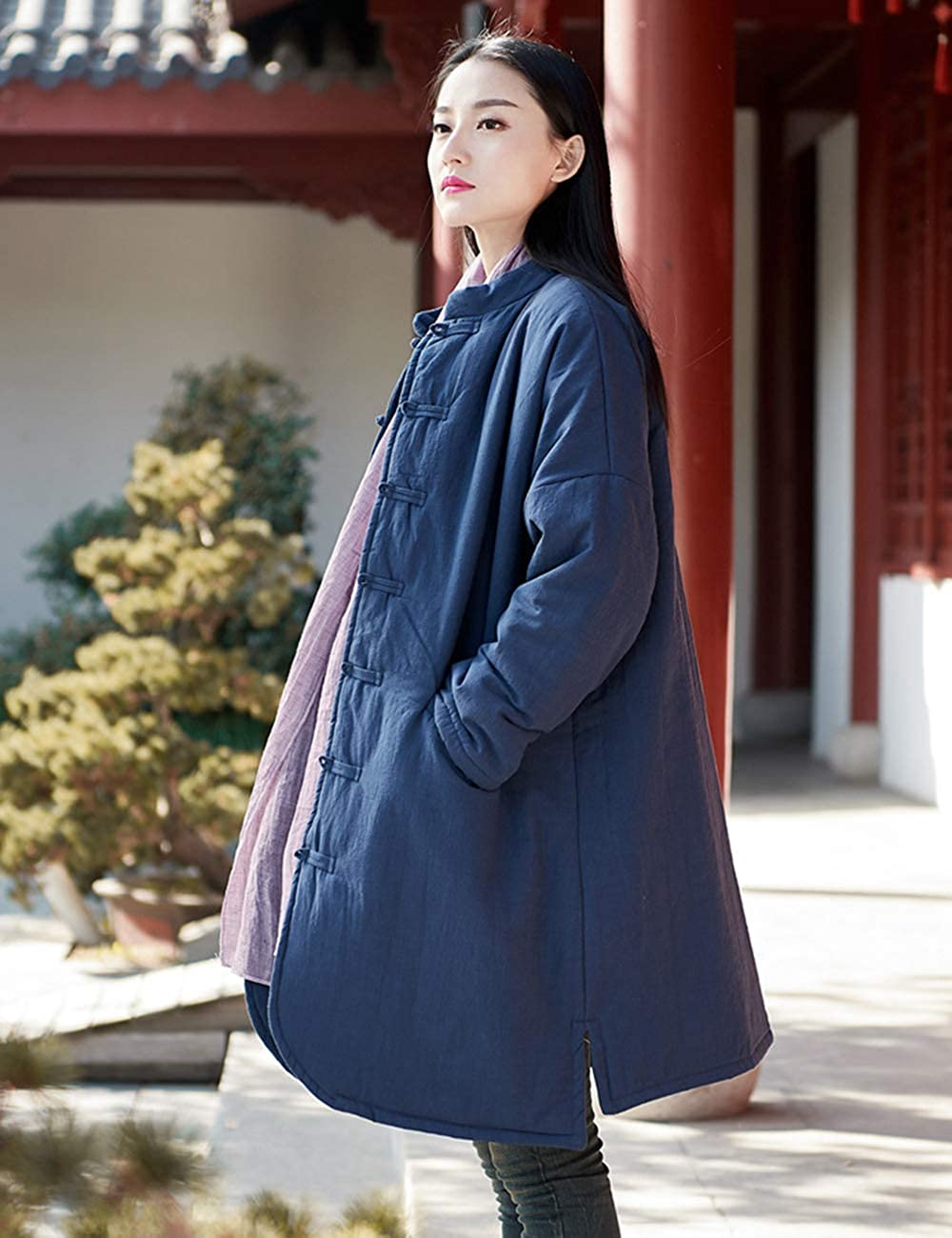 LZJN Women's Cotton Padded Coats Mid-Length Quilted Chinese Style Winter Jackets 2306 Navy