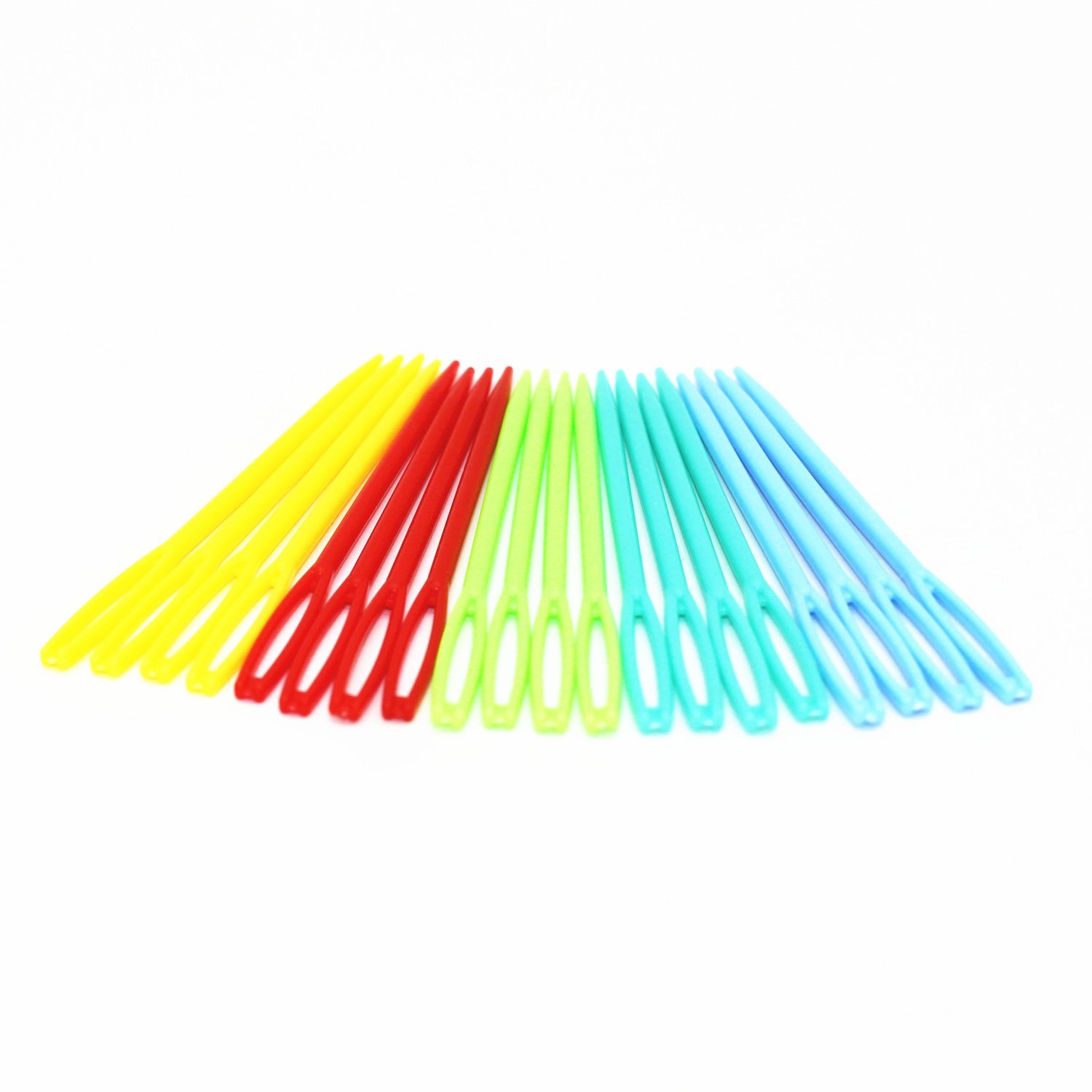 WEICHUAN 100PCS Crafts Plastic Lacing Needles 9CM Multicolor Plastic Hand Sewing Yarn Darning Tapestry Needles