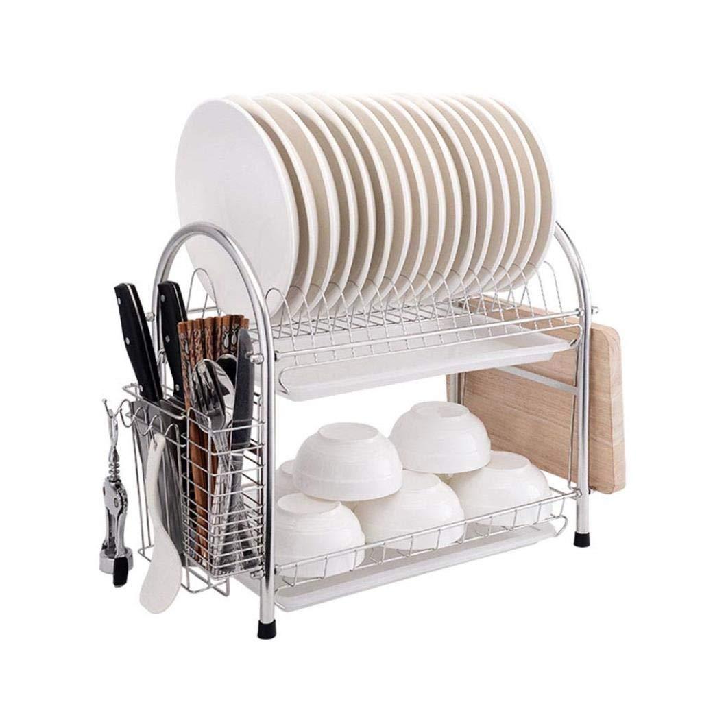 キッチン収納ラック - 皿ラック304ステンレス鋼皿ラック2層排水食器乾燥ラック多機能水フィルターバスケット55.5×24.5×40センチ WJuian B07RRKGKWR