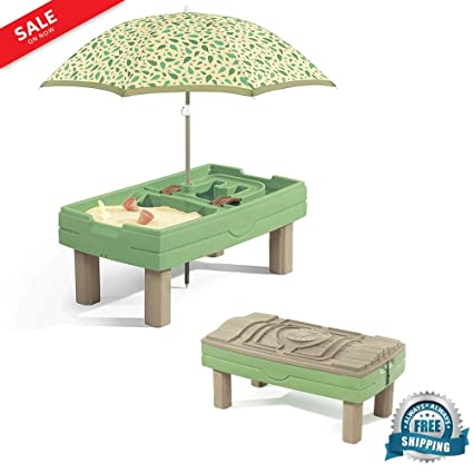 Sand Box For Kids With Cover Activity Water Table Outdoor Playful Center  With Umbrella U0026 Accessory