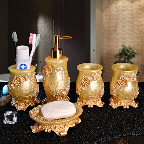 JruF Aristocratic Rose Resin Yellow Bath Accessory Set, 5 Sets Including Lotion Dispenser, Toothbrush Holder, Soap Dish, Tumbler Decoration