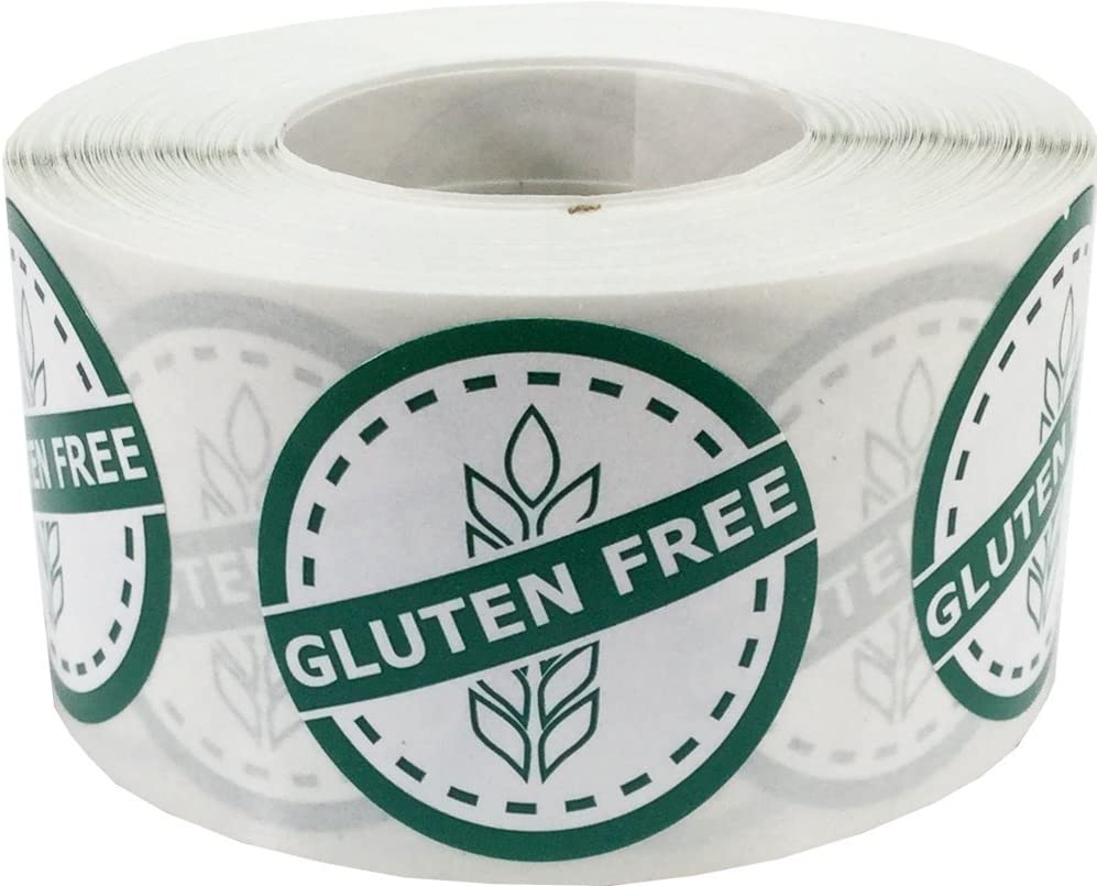 Gluten Free Food Rotation Circle Stickers, 1.25 Inches Round, 500 Labels on a Roll