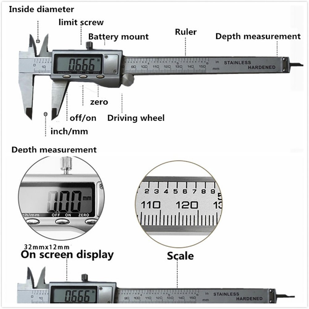 XYXDI 150mm/6-inch Stainless Steel Electronic Digital Vernier Caliper Micrometer by XYXDI (Image #3)