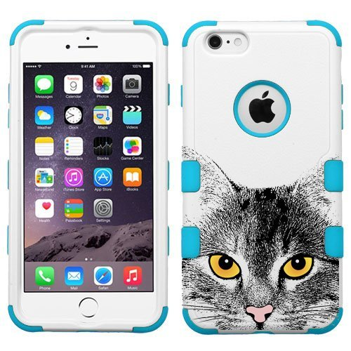 For Iphone 6   6S  4 7   Cat Print Case Hybrid Phone Protector Cover  Cat Blue