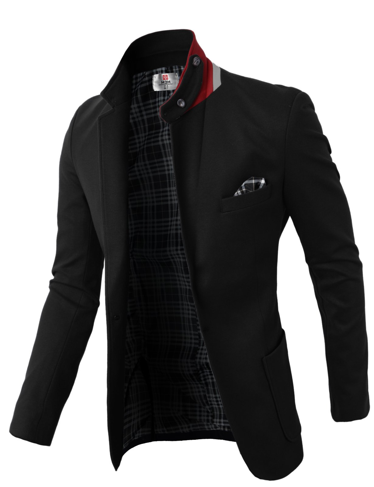 H2H Mens Casual Fashion Slim Fit Blazer Jacket With Snap Collar BLACK US S/Asia M (KMOBL01)