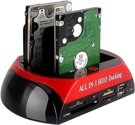 Tumao HDD SSDスタンド ハードディスク スタンド 2.5/3.5 HDDスタンド HDDクローンスタンド多機能2TB高速ハードディスクケース (レッド・ブラック)