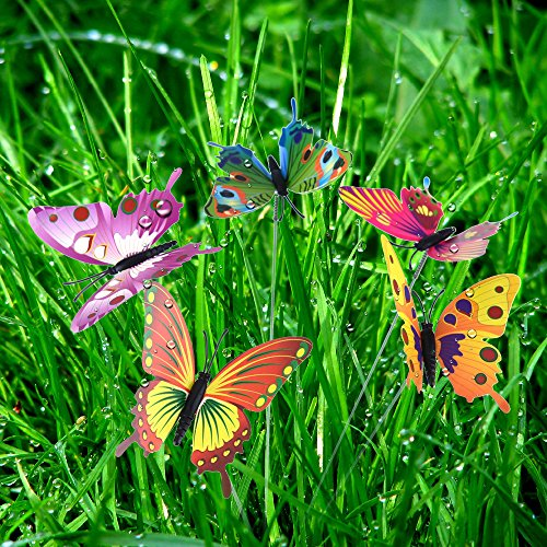 Austor garden decor 36 pcs 8cm butterfly stakes party for Outdoor butterfly decor