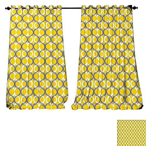 Park Traditional Chandelier - fengruiyanjing-Home Room Darkening Wide Curtains Ikat Ancient Ethnic Traditional Ikat Patterns Indonesian Cloud Style Ative Motifs Yellow Grey White Customized Curtains (W96 x L72 -Inch 2 Panels)