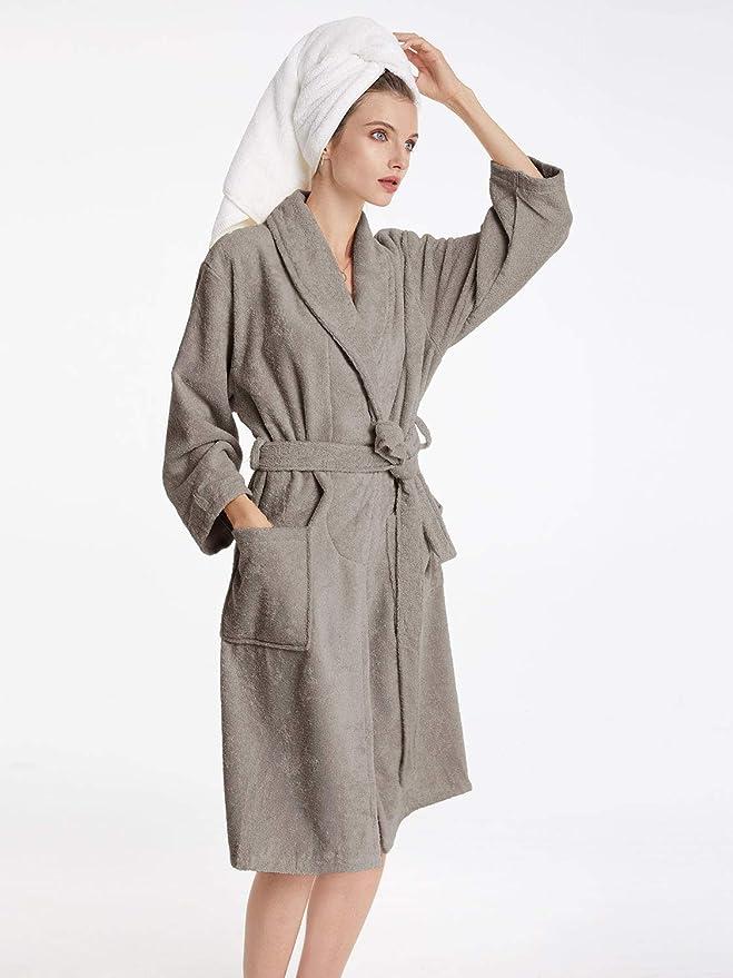 SIORO Womens Robe Terry Cloth Bathrobe Cotton Soft Warm Shawl Collar Housecoat Calf Length Hotel Spa Sleepwear with Pockets