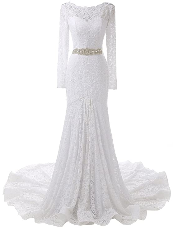 Review SOLOVEDRESS Women's Long Sleeves Lace Wedding Dress Mermaid Bridal Prom Evening Gown