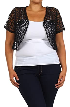 Womens Plus Size Shrug Short Sleeve Sheer Dressy Holiday Cropped ...