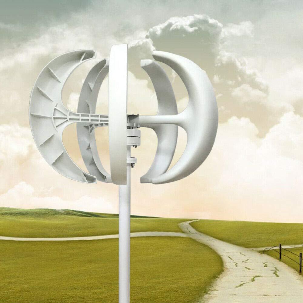 MINUS ONE Aerogenerador 600W 24V Generador de turbina eólica Linterna Blanca Generador de Viento Vertical 5 Palas Kit de turbina eólica con Controlador Sin Poste