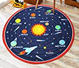 Kids Round Rug Solar System Learning Area Rug Children's Fun Area Rug - Non Slip Bottom (Solar System, 31'' Diameter Round)