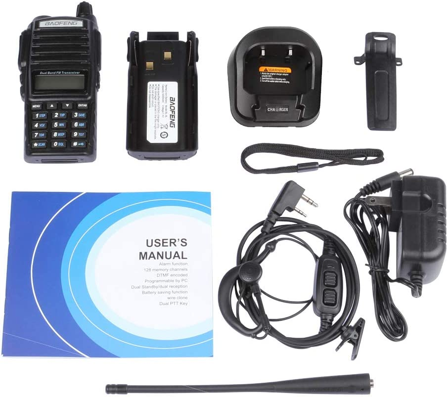 BAOFENG UV-82L Dual Band VHF UHF Amateur Black Ham Two Way Radio with Dual PTT