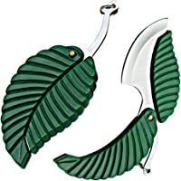 2 Pack Mini Portable Green Leaf Knife Business Gift Creative Key Accessories Folding Pocket Knife - Stainless Steel…