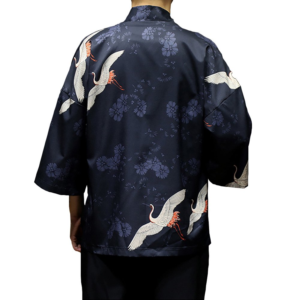 Men Japanese Flying Crane Kimono Coat Loose Cardigan Jacket Top (2, US XS/Asia M: Bust 106cm/41.73'') by Hao Run (Image #2)