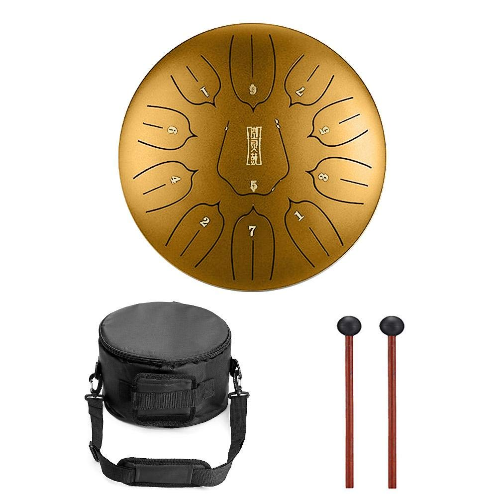 Niome 12 Inch Steel Tongue Drum 11 Notes Black w/Travel Bag and Mallets,Tank Drum Chakra Drum,Percussion Hang Drum Instrument
