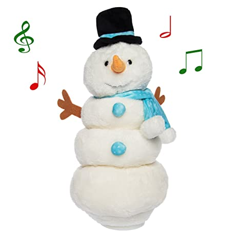 simply genius singing dancing snowman animated plush toy doll stuffed animal light up moving figure