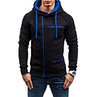 Rela Bota Men's Fashion Full-Zip Hoodies Jacket Slim Fit Athletic Pullover Fluorescent Zipper Stitching Sweatshirts