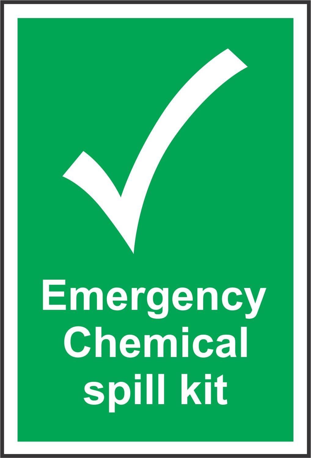 Etiqueta - Seguridad - Advertencia - Señales de emergencia Kit de derrames químicos Señal de seguridad - 20x15cm - oficina, empresa, escuela, hotel