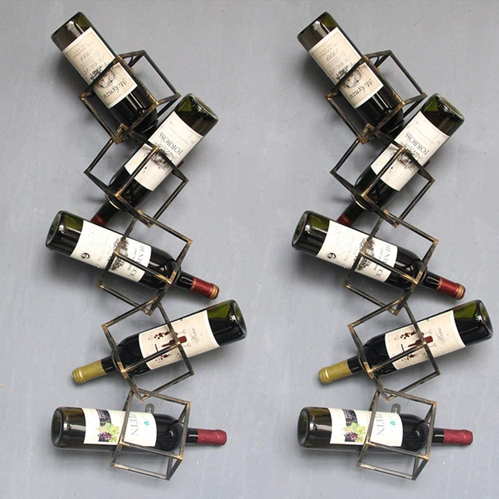TFACR Botellero de Hierro Forjado, Soporte de Vino montado en la Pared, Restaurante Bar Home Wall Hanging, Porta Botellas, Espacio para Guardar Botellas, Regalos,B