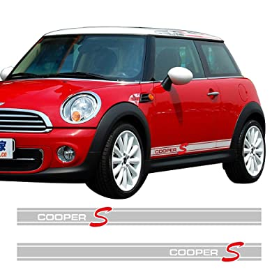 Charminghorse 2Pieces Side Skirt Coopers Graphics Racing Stripes Decal Stickers for Mini Cooper S R56 R57 R58 R50 R52 R53 R59 F55 F56 (Silvergrey): Automotive