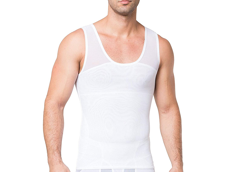 LARDROK Mens Breathable Slimming Body Shaper Compression Shirt Girdles Abdomen Slim Vest Tummy Shaper