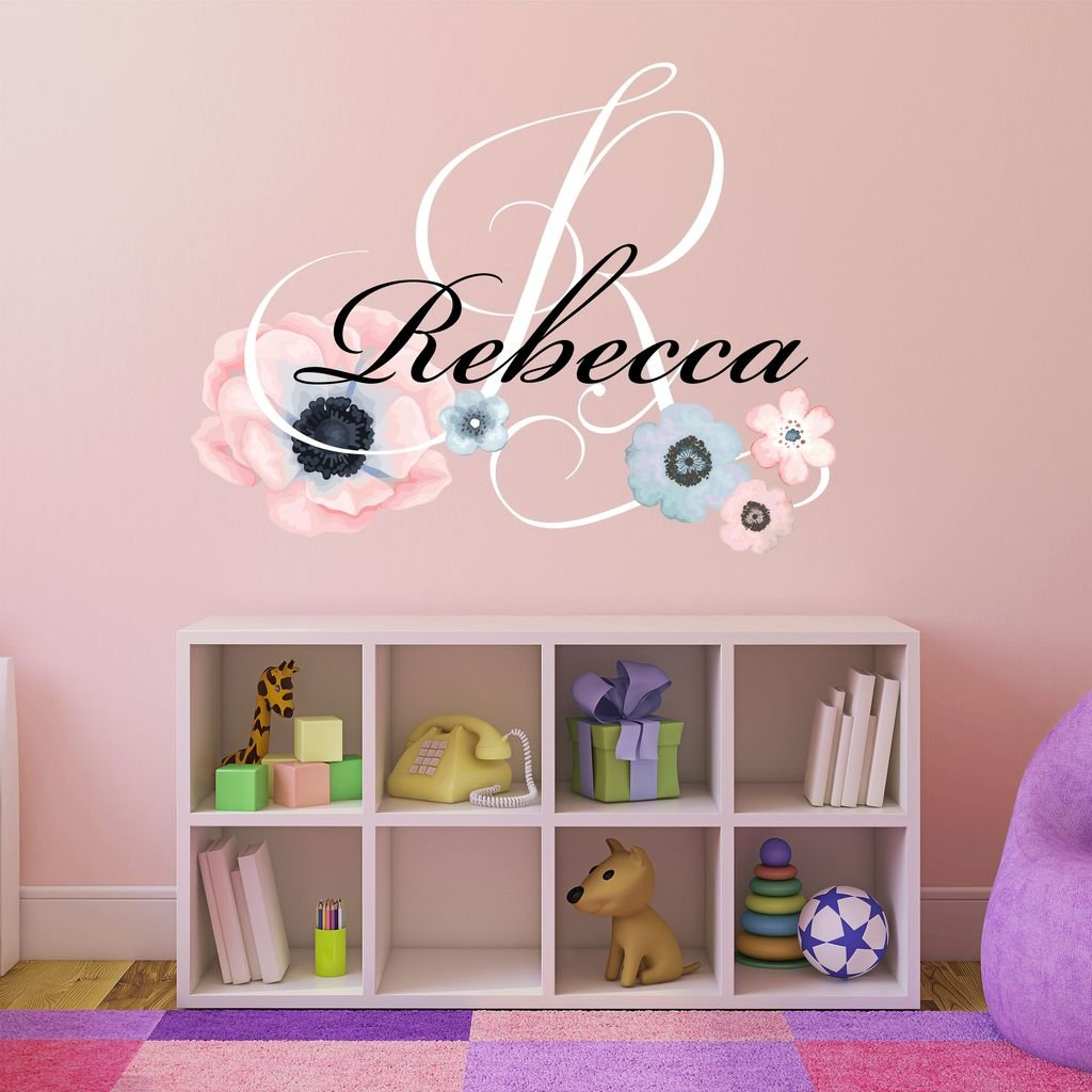 Nursery Water Color Flowers Personalized Custom Name and Initial Wall Decal Sticker 28'' W by 26'' H, Girls Name Wall Decal, Baby Girl Wall Decor, Girls Decor Bedroom, Plus Free Hello Door Decal by Decor Designs Decals