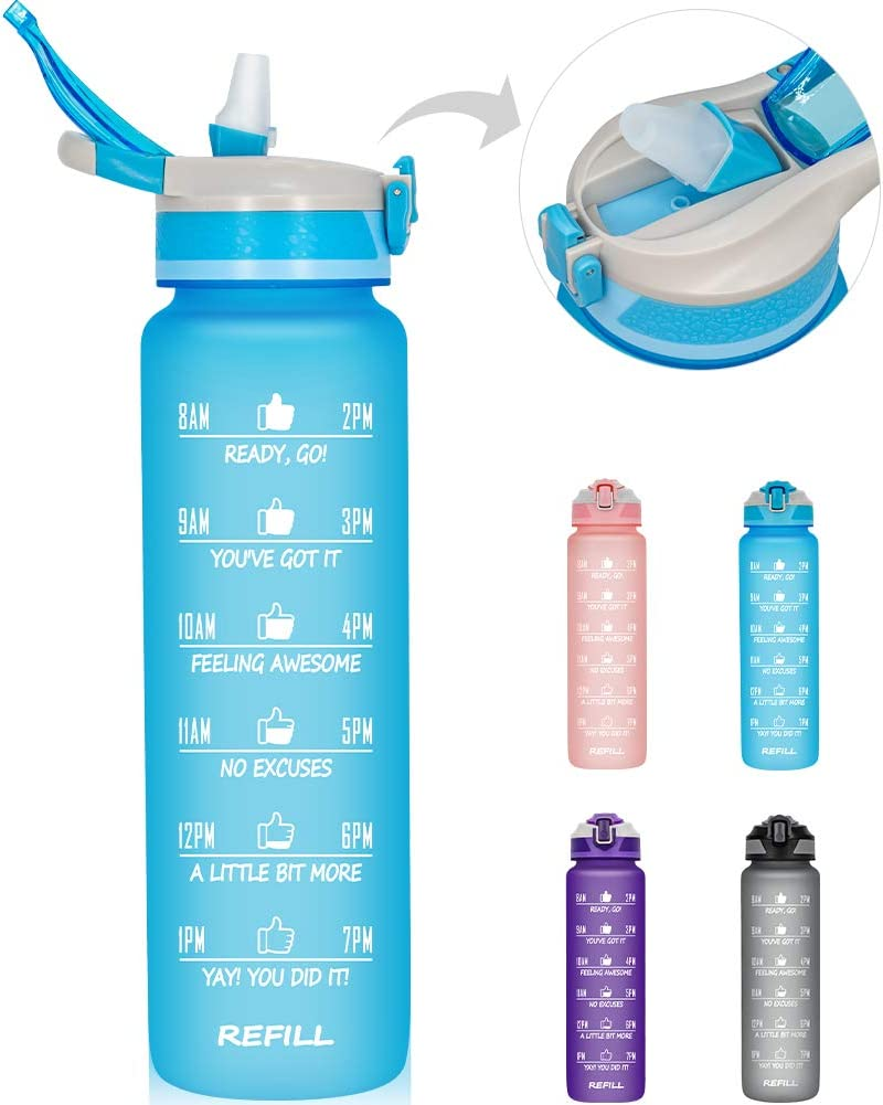 32 oz/1L Motivational Water Bottle with Time Marker & Straw - BPA Free & Leakproof Tritian Frosted Portable Reusable Fitness Sports Water Bottle for Student Women Men Kids to Gym Office School Workout