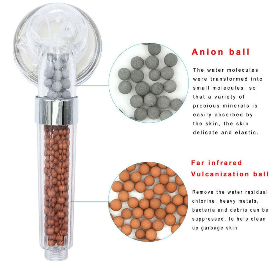 Oldeagle Stainless Steel Small Bath Shower Head High Pressure Boosting Water Saving Filter Balls Beads Utility