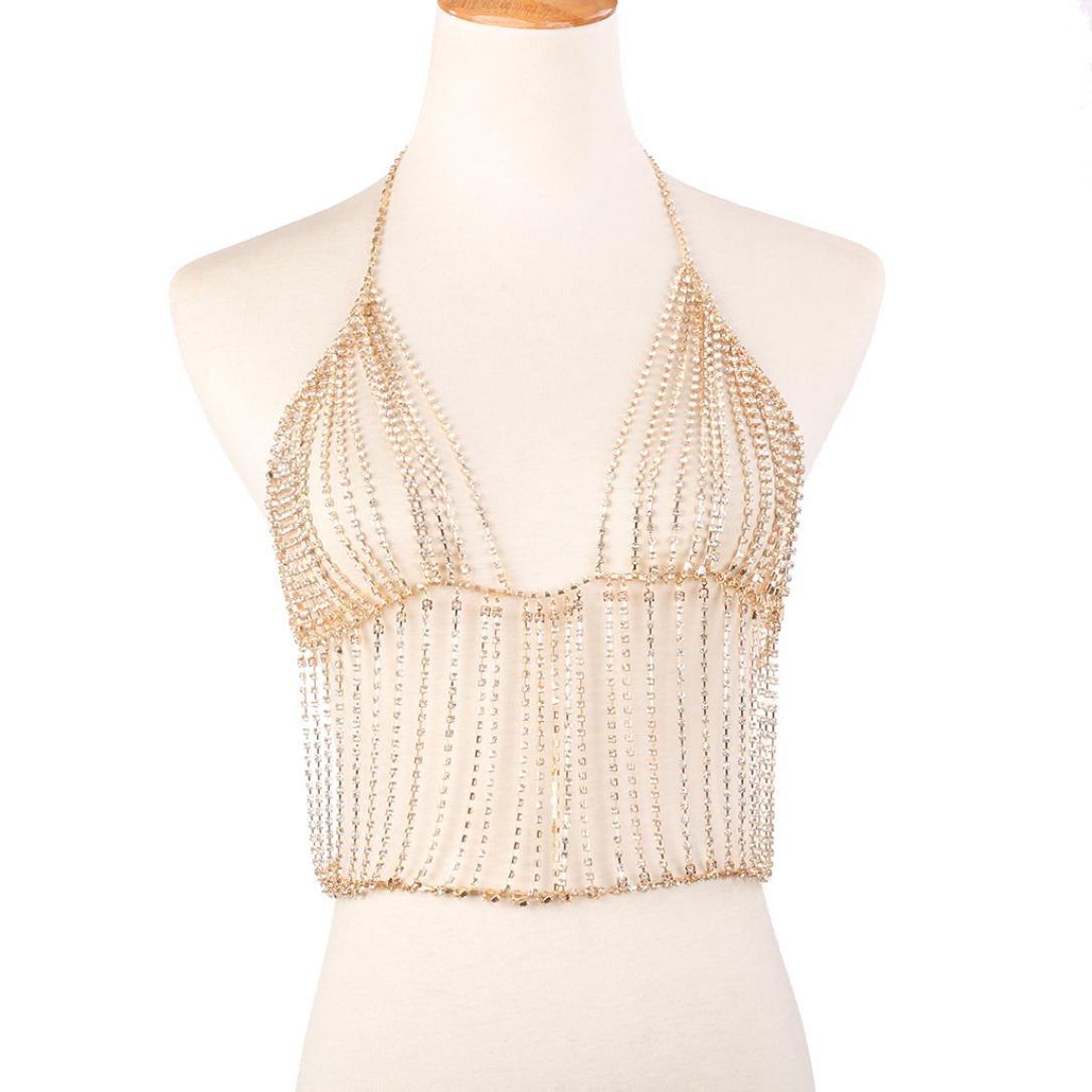 DDLBiz Women Cute Tassel Nightclub Party Body Chain Crop Top Bralette (Gold)