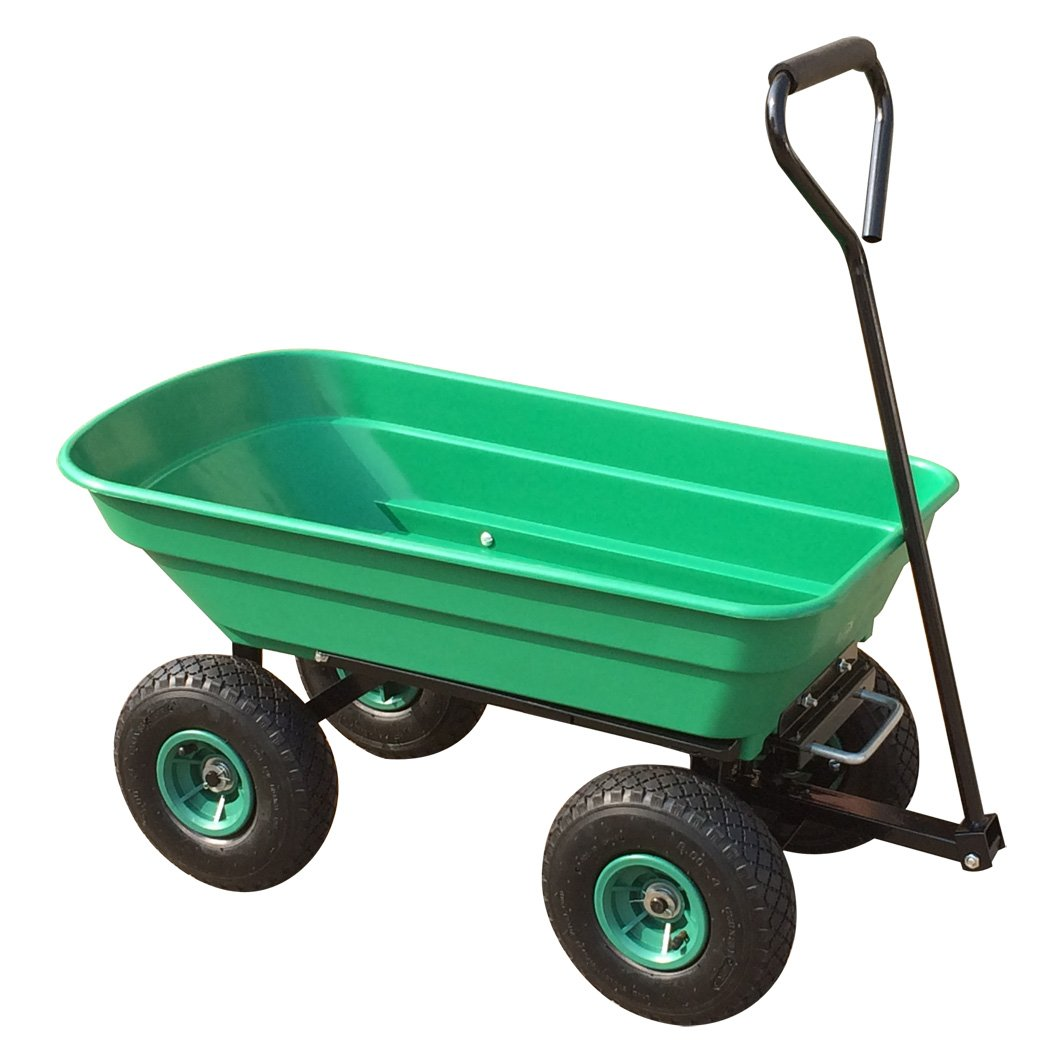 Power King Garden Tipping Truck 50L Tipper Wheel Barrow with 10' Pneumatic Wheels Fitted with Swivel Handle and Wheel Base Adjustment