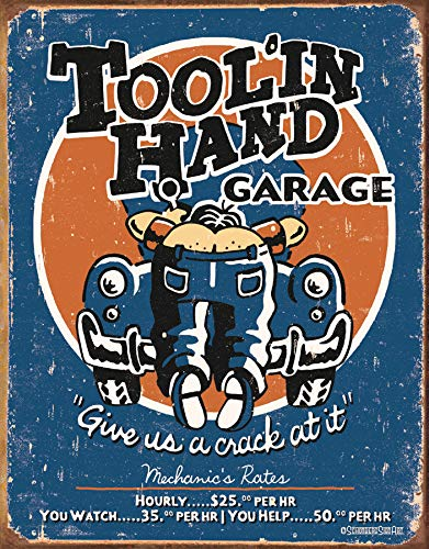 Desperate Enterprises Moore - Tool' in Hand Garage Tin Sign, 12.5