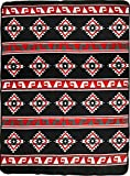 El Paso Designs Native American Southwest Warm Smooth Cozy Lodge Blanket for Cabin, Home, Cottage or Chalet 80'' x 60'' (Red Geometric)