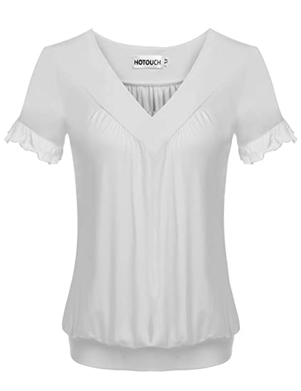 ff50f90d71f9a Image Unavailable. Image not available for. Color  HOTOUCH Women s Plus Size  Jersey Short-Sleeve V Neck Basic Loose Fit T-Shirt