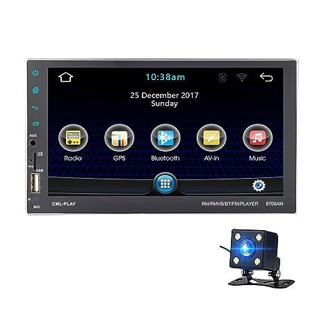 Easy-topbuy Radio Universal GPS de Coche Multimedia Reproductor de DVD con GPS Navi Quad
