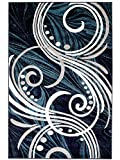 "Cheap NEW Summit Elite S61 Blue Grey White Scroll Swirl Area Rug Modern Abstract Rug Many Sizes Available (8X11 ACTAUL SIZE IS 7′.4"" X 10′.6"")"