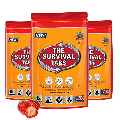Prepper Food 1-day supply 12 tabs 25 Years shelf life Gluten Free and Non-GMO - Strawberry Flavor