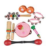 Musical Instruments Set ,Wooden Percussion for Kids-10Pcs,Preschool Educational Early Learning Instruments Sets Hand…