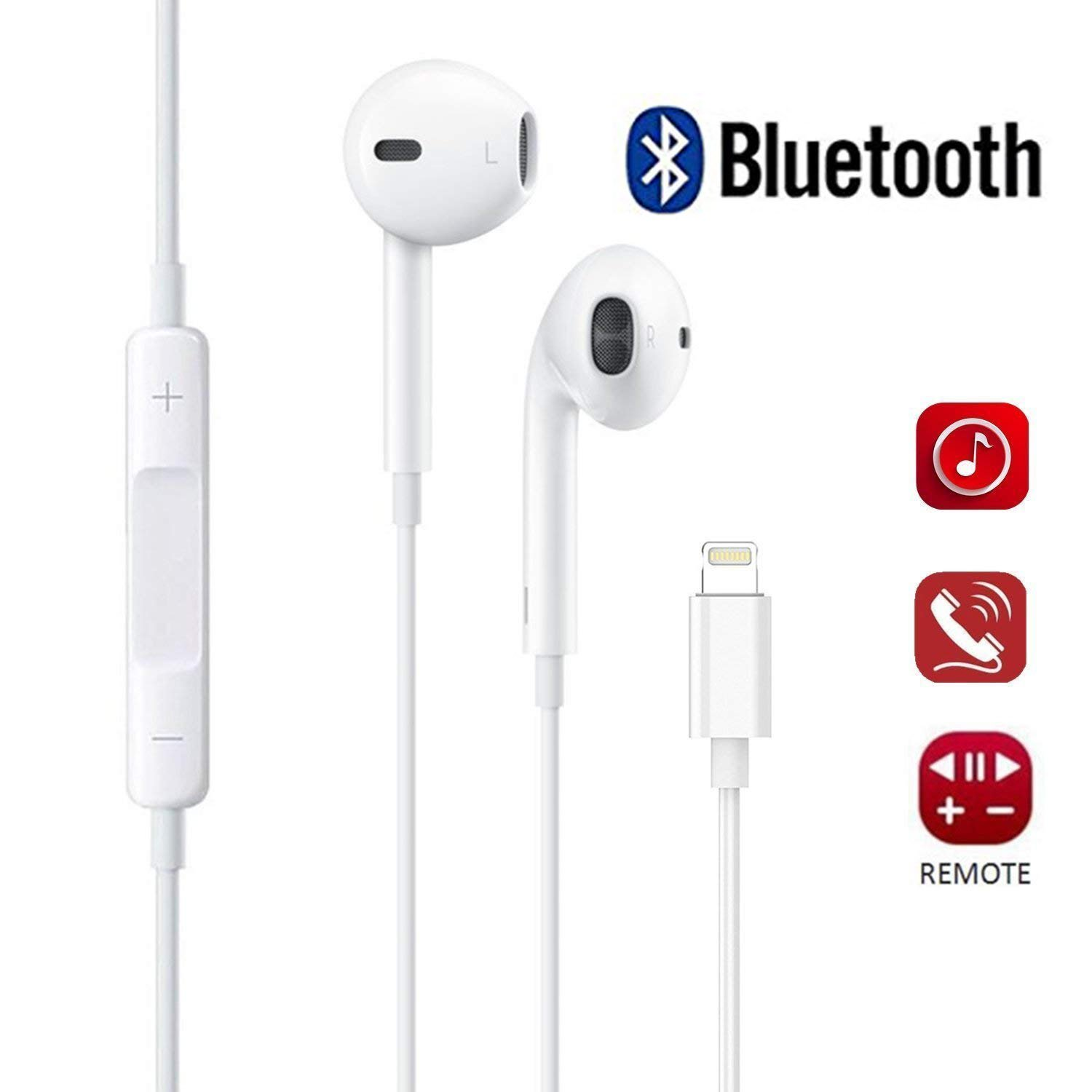 Lightning Earphones With Microphone Earbuds Stereo Headphones and Noise Isolating headset Made for iPhone7/7 Plus/iPhone8/8 Plus/iPhone X/iPad/iPod Support all iOS system[Bluetooth Connectivity]White