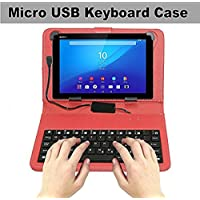 Storite 7 Inch Tab Cover with Inbuilt Keyboard Stand with Micro USB Cable and Magnetically Detachable - Red