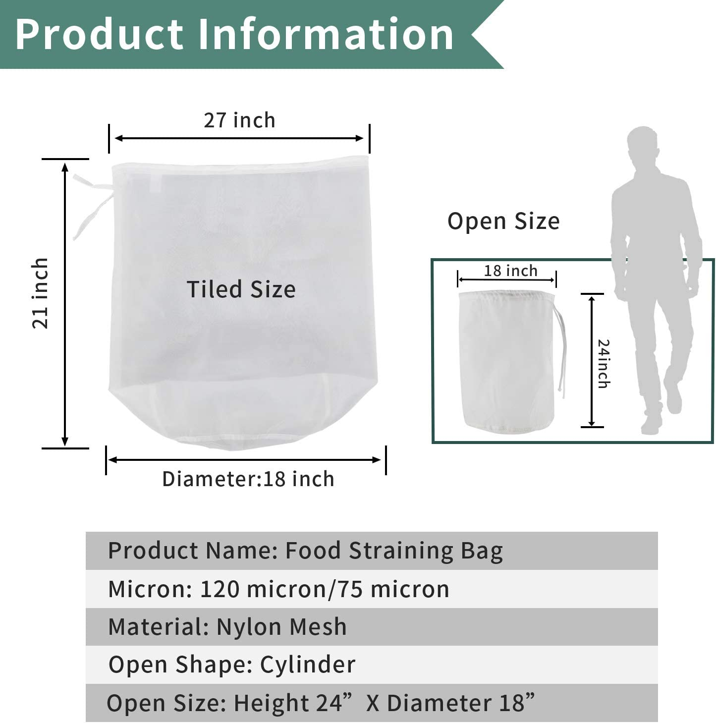 Size : 500M Without brand 1pc 5045 Filter Bag 10 Gals Straining Filter Wine Beer Jam Marmalade Home Brew Hops